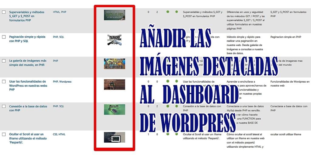 Añadir imagenes destacadas al dashboard de Wordpress