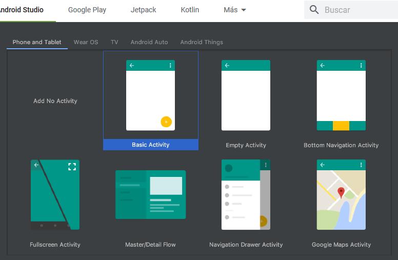 nuevo proyecto con AndroidStudio